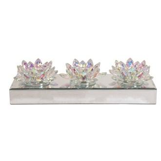 Lustre Crystal Lotus 3 Tealight Holder 35cm