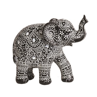 Carved Black & White Elephant 17cm