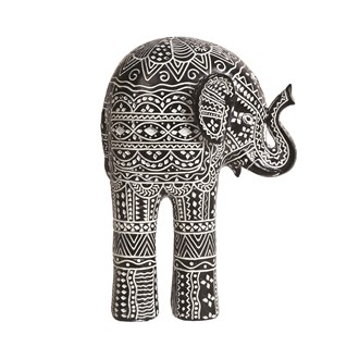 Carved Black & White Elephant 22cm