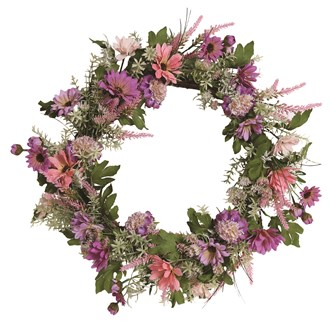 Mixed Floral Wreath Pink and Purple 50cm