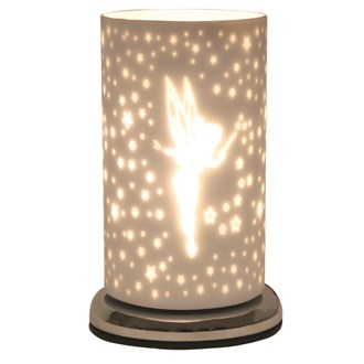 Fairy White Satin Touch Table Lamp 24cm