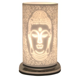 Buddha White Satin Touch Table Lamp 24cm