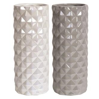 Large Lustre Geometric Cylinder Vase 30cm 2 Assorted