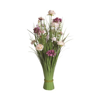 Grass Floral Bundle Pink and Peach Hydrangea and Peony 70cm