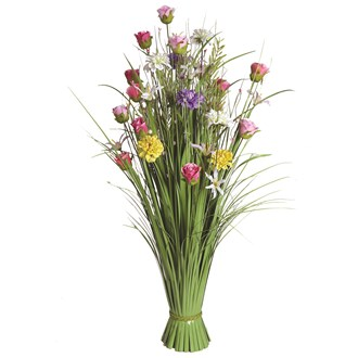 Grass Floral Bundle Pink and Lilac Dahlia and Rose 100cm