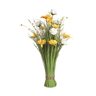 Grass Floral Bundle Yellow and White Sunflower and Rose 70cm