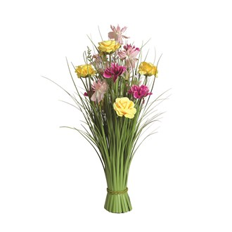 Grass Floral Bundle Yellow and Pink Rose 70cm