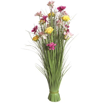 Grass Floral Bundle Yellow and Pink Rose 100cm