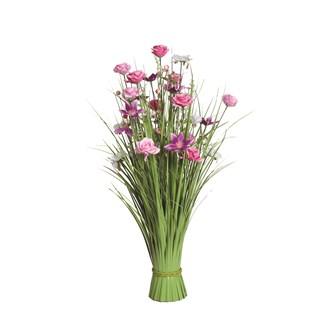 Grass Floral Bundle Pink Sakura and Rose 70cm