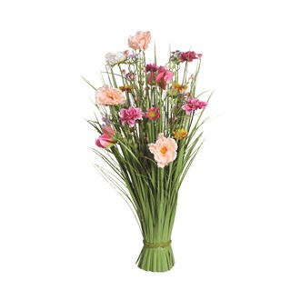 Grass Floral Bundle Pink and Peach Camellia 70cm