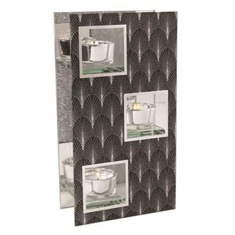 Black & Silver Triple Tea Light Holder 24cm