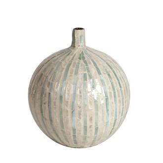 Capiz Blue Lined Vase 28cm
