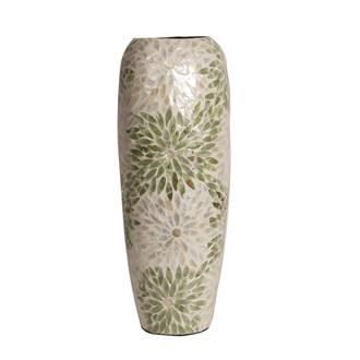 Capiz Green & White Vase 47cm