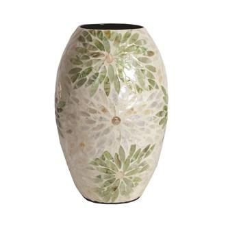 Capiz Green & White Vase 29.5cm