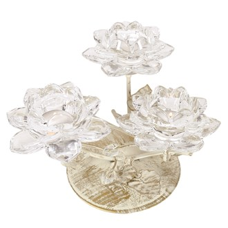 Clear Crystal Flower Triple Tea Light Holder 16cm