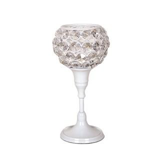 Crystal White Tea Light Holder 19cm