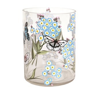 Glass Butterfly and Floral Vase 20cm