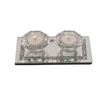 Diamond Double Tealight Holder 17cm