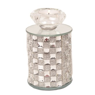 Diamond Mirrored Tea Light Holder 13cm