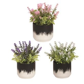 Floral Decorative Pot 16cm 3 Assorted