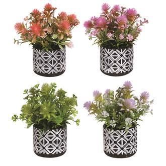 Floral Decorative Pot 24cm 4 Assorted