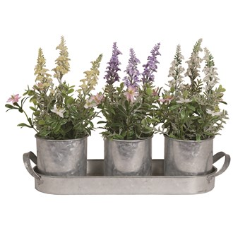 Florals In Tin Pots On Tray 37cm