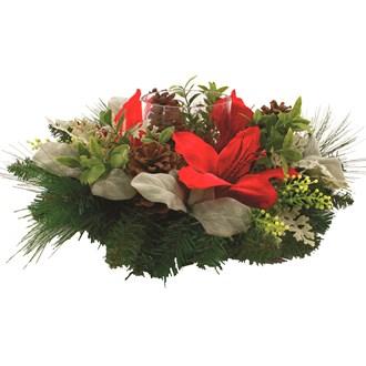 Floral Pillar Holder Red 51cm