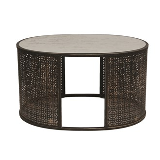 Fretwork Oval Table 83x47cm