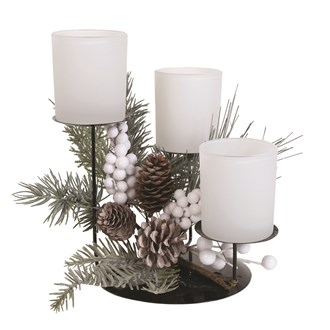 Frost Floral Triple Pillar Holder White