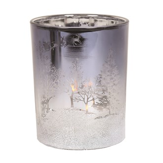 Frosted Christmas Scene Tealight Holder 12.5cm