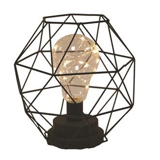 Black Metal Geometric LED Bulb Decor 21cm