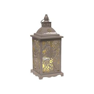 Grey Leaf LED Lantern 34cm