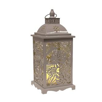 Grey Leaf LED Lantern 39cm