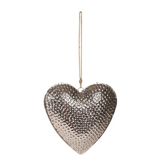 Hammered Effect Hanging Hear 21cm