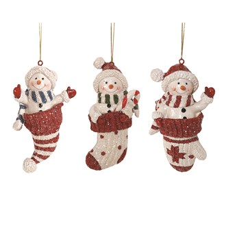 Hanging Snowman Decoration 3 Assorted