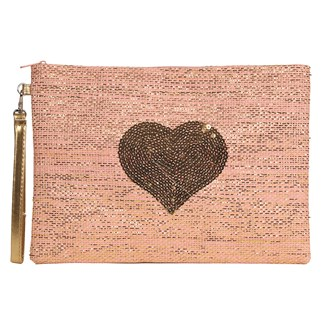 Heart Cosmetic Bag Pink 20x28cm