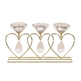 Heart Diamond Triple Tea Light Holder in Gold 26cm
