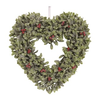 Leaf & Berry Heart Wreath 34cm