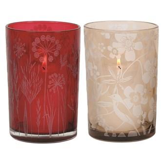 Leaf & Flower Glass Pillar Holder  18cm 2 Assorted