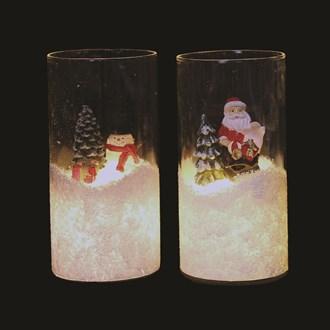 LED Christmas Glass Cylinder 15cm 3 Assorted