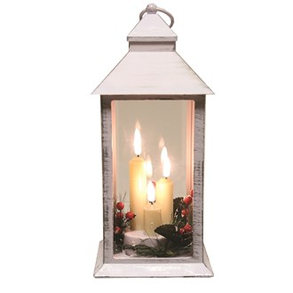 LED Deco White Lantern 31cm