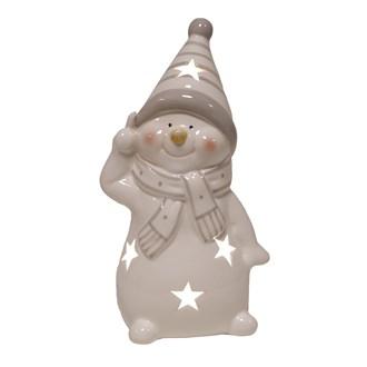 LED Snowman Grey 16cm