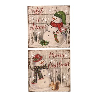 LED Snowman Plaque 20cm 2 Assorted