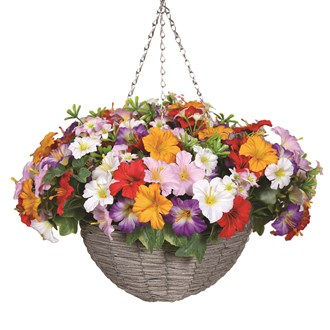 Floral Hanging Basket Red, White, Pink, and Yellow Petunia