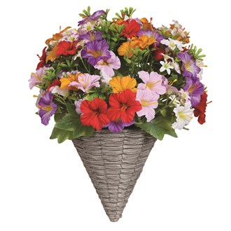 Floral Wall Basket Red, White, Pink and Yellow Petunia