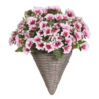 Floral Wall Basket White Petunia