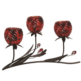 Red Floral Triple Tea Light Holder 33.5cm