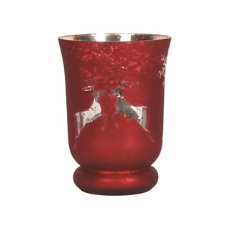Reindeer Tealight Holder Red 14cm