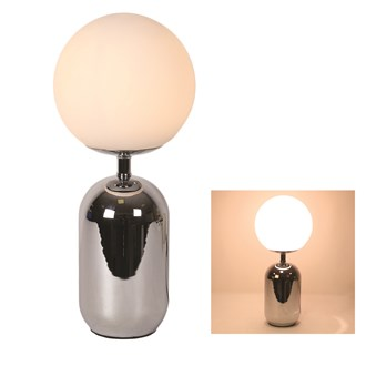 Retro Silver Table Lamp with Opal Globe 45cm