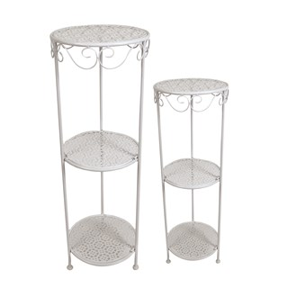 Round Plant Stands White Set of 2 89cm/81cm